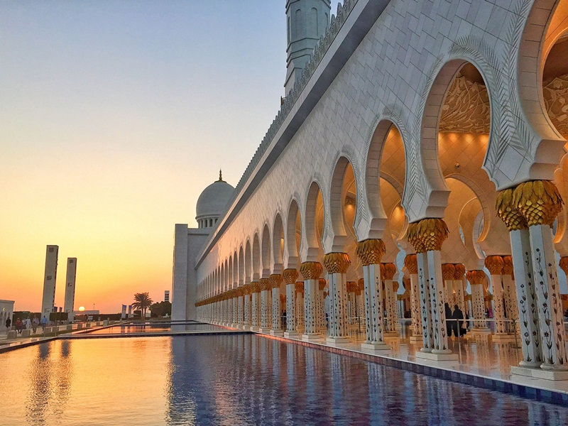 por do sol grand mosque sheikh zayed abu dhabi